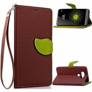 Leaf PU kožené pouzdro na LG G5 - hnědé - 1