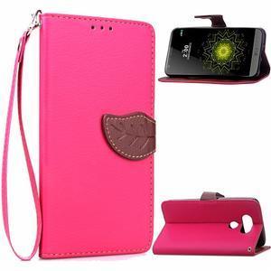 Leaf PU kožené pouzdro na LG G5 - rose - 1