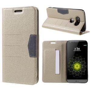 Klopové peneženkové pouzdro na LG G5 - zlaté - 1