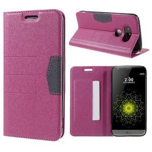 Klopové peneženko pouzdro na LG G5 - rose - 1