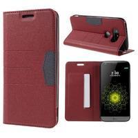 Klopové peneženkové pouzdro na LG G5 - červené - 1/7