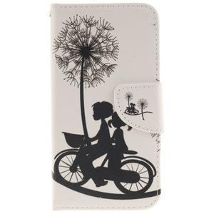 Obrázkové koženkové pouzdro na LG G5 - láska na kole - 1