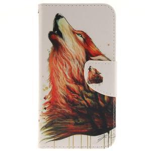 Obrázkové koženkové pouzdro na LG G5 - vlk - 1