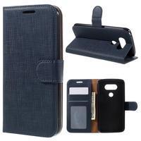 Cloth koženkové peněženkové pouzdro na LG G5 - tmavěmodré - 1/7