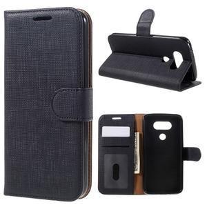 Cloth koženkové peněženkové pouzdro na LG G5 - černé - 1