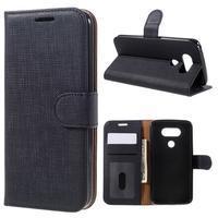 Cloth koženkové peněženkové pouzdro na LG G5 - černé - 1/7