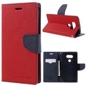Goos stylové PU kožené pouzdro na LG G5 - červené - 1