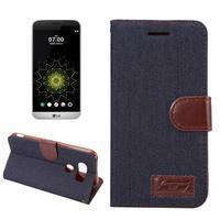 Jeans peněženkové pouzdro na LG G5 - černomodré - 1/7
