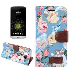Květinové pouzdro na mobil LG G5 - modrý vzor - 1