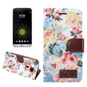 Květinové pouzdro na mobil LG G5 - bílý vzor - 1