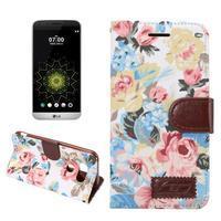Květinové pouzdro na mobil LG G5 - bílý vzor - 1/7