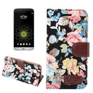 Květinové pouzdro na mobil LG G5 - černý vzor - 1