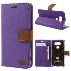 Diary PU kožené pouzdro na mobil LG G5 - fialové - 1