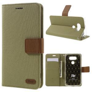 Diary PU kožené pouzdro na mobil LG G5 - khaki - 1