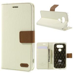 Diary PU kožené pouzdro na mobil LG G5 - bílé - 1