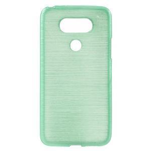 Hladký gelový obal s broušeným vzorem na LG G5 - cyan - 1