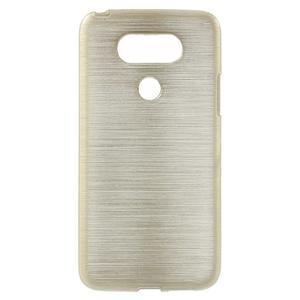 Hladký gelový obal s broušeným vzorem na LG G5 - champagne - 1