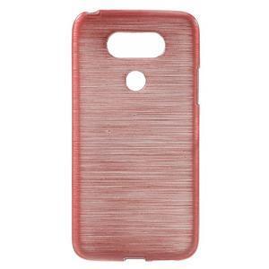 Hladký gelový obal s broušeným vzorem na LG G5 - růžový - 1