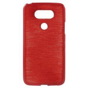 Hladký gelový obal s broušeným vzorem na LG G5 - červený - 1