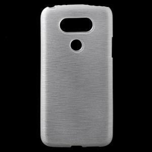 Hladký gelový obal s broušeným vzorem na LG G5 - bílý - 1