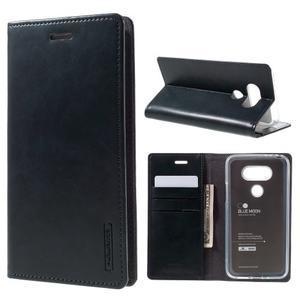 Luxury PU kožené pouzdro na mobil LG G5 - tmavěmodré - 1