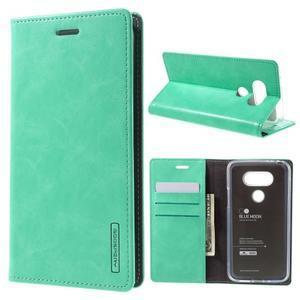 Luxury PU kožené pouzdro na mobil LG G5 - cyan - 1