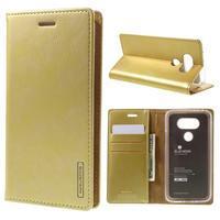 Luxury PU kožené pouzdro na mobil LG G5 - zlaté - 1/7