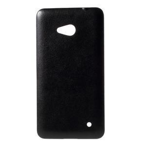 Gelový kryt s imitací kůže pro Microsoft Lumia 640 - černý - 1