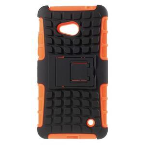 Vysoce odolný kryt se stojánkem na Microsoft Lumia 640 - oranžový - 1