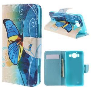 Peněženkové pouzdro na Microsoft Lumia 950 - modrý motýl - 1