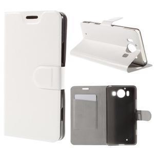 Horse PU kožené pouzdro na mobil Microsoft Lumia 950 - bílé - 1