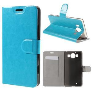Horse PU kožené pouzdro na mobil Microsoft Lumia 950 - modré - 1