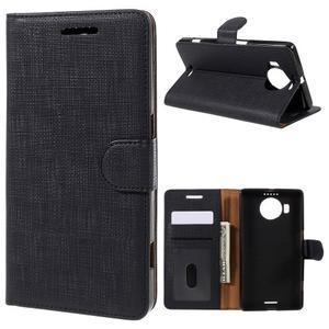 Cloth PU kožené pouzdro na mobil Microsoft Lumia 950 XL - černé - 1