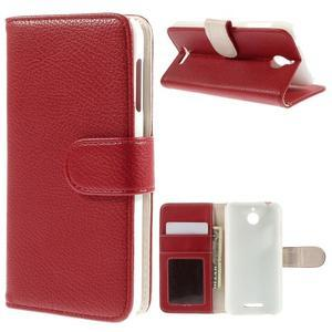 Folio PU kožené pouzdro na mobil HTC Desire 510 - červené - 1