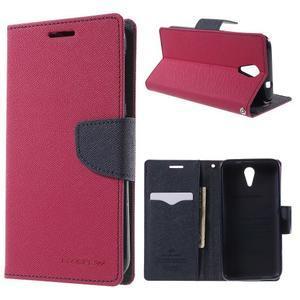 Diary PU kožené pouzdro na mobil HTC Desire 620 - rose - 1