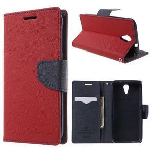 Diary PU kožené pouzdro na mobil HTC Desire 620 - červené - 1