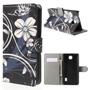 Zapínací peněženkové pouzdro Huawei Y635 -  bílá květina - 1