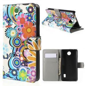 Zapínací peněženkové pouzdro Huawei Y635 - barevné květiny - 1