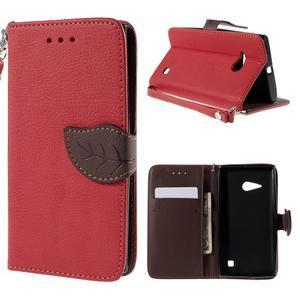 PU kožené pouzdro se zapínáním na Nokia Lumia 730/735 - červené - 1