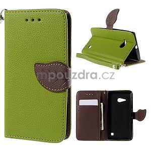 PU kožené pouzdro se zapínáním na Nokia Lumia 730/735 - zelené - 1