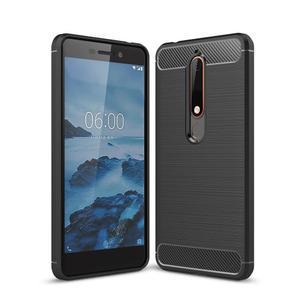 Carbon odolný gelový obal s broušením na Nokia 6 (2018) - černý - 1