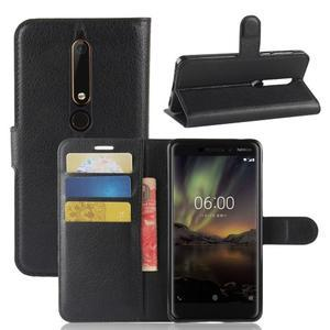 Litchi PU kožené pouzdro na Nokia 6.1 - černé - 1