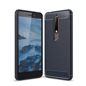 Carbon odolný gelový obal s broušením na Nokia 6.1 - tmavěmodrý - 1