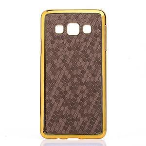 Elegantní obal na Samsung Galaxy A3 - hnědy se zlatým lemem - 1