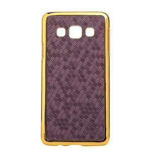 Elegantní obal na Samsung Galaxy A3 - fialový se zlatým lemem - 1