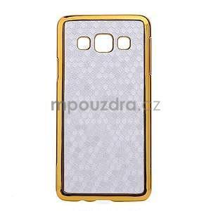 Elegantní obal na Samsung Galaxy A3 - stříbrný se zlatým lemem - 1