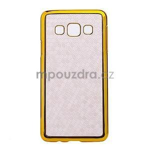 Elegantní obal na Samsung Galaxy A3 - bílý se zlatým lemem - 1