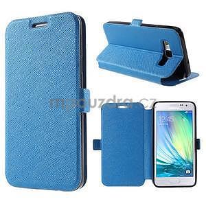 Klopové PU kožené pouzdro na Samsung Galaxy A3 - modré - 1