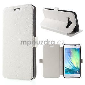 Klopové PU kožené pouzdro na Samsung Galaxy A3 - bílé - 1