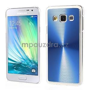 Metalický plastový obal na Samsung Galaxy A3 - modrý - 1